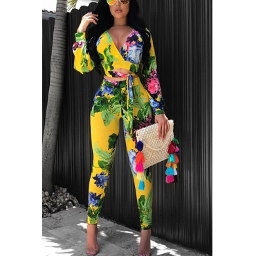Stylish V Neck Long Sleeves Printed Yellow Venetian Two-piece Pants Set