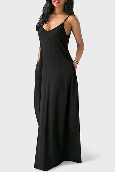 Casual V cuello asimétrico Negro Blending piso vestido de longitud