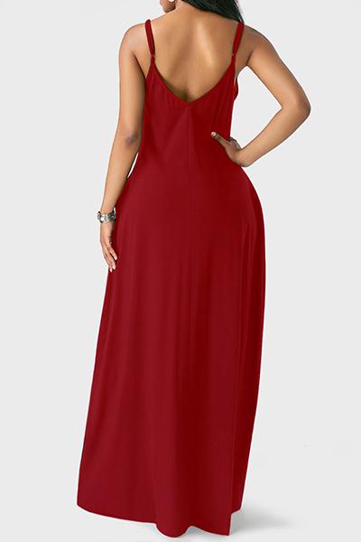 Lässig V-Ausschnitt Asymmetrisch Weinrot Bodenlangen Kleid