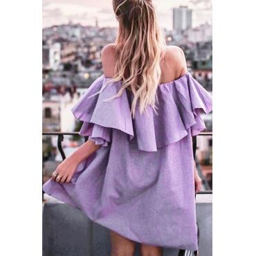 Stylish Dew Shoulder Falbala Design Purple Polyester Mini Dress