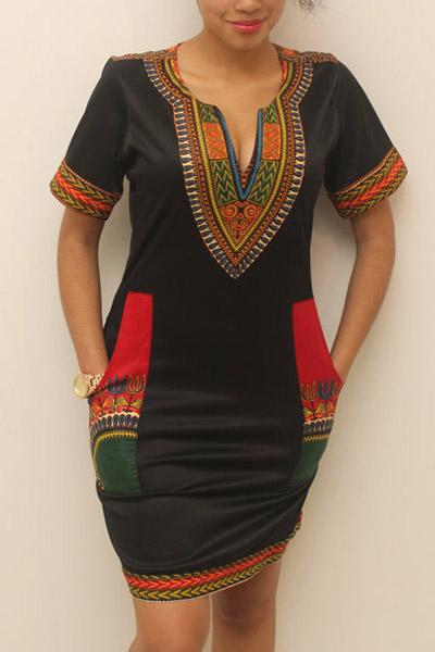 Style Ethnique V Neck Manches courtes Totem imprimé Mini gaine en laine mini-gaine en laine