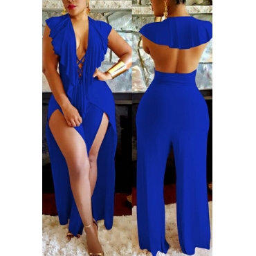 Sexy Deep V Neck Backless Blue Polyester One-piece Jumpsuits