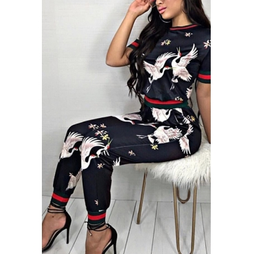Stylish Round Neck Short Sleeves Printed Patchwork Black Knitting Two-piece Pants Set