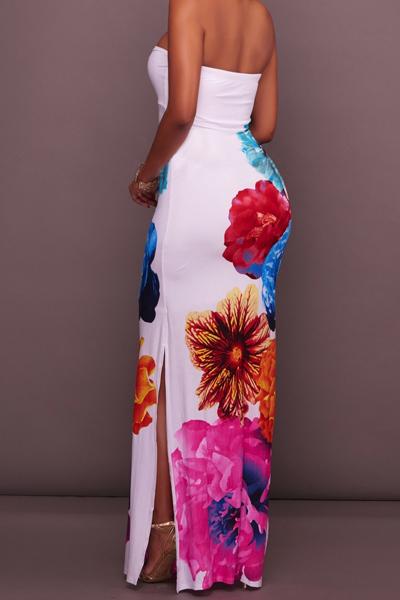 Écharpe élastique en élastique à imprimé floral Robe en satin de cheville en gaine en polyester blanc
