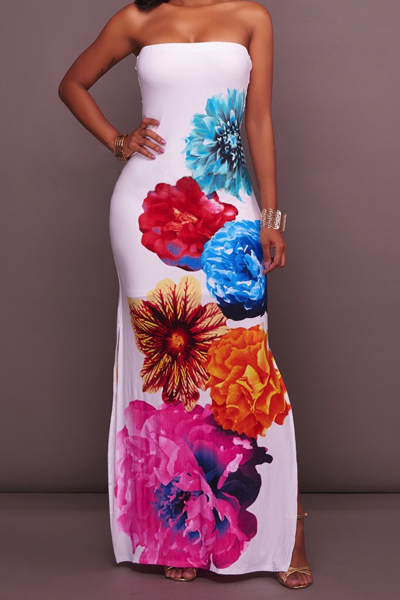 Stylish Dew Shoulder Floral Print White Polyester Sheath Ankle Length Dress