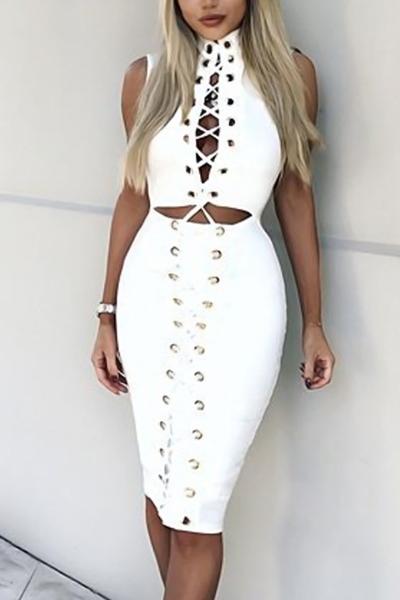 sensual gola olímpica recôncavo-out White Polyester Knee Length Dress (Sem Gargantilha)