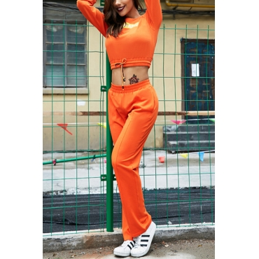 Leisure Round Neck Long Sleeves Letters Printing Orange Blending Two-piece Pants Set
