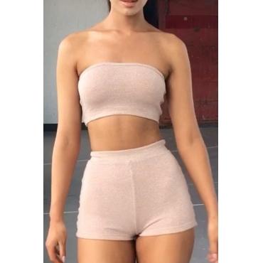 Euramerican Dew Shoulder Gold Polyester Two-piece Shorts Set