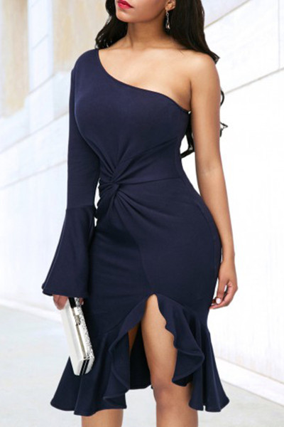 Polyester Sexy Bateau Neck One Shoulder Sheath Mid Calf Dresses