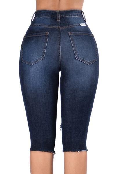 stilvolle hohe Taille gebrochen Löcher dunkelblaue Jeans-Shorts
