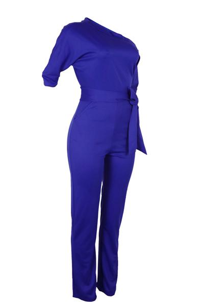 Стильный одно плечо Синий полиэстер Цельные комбинезоны (с поясом)