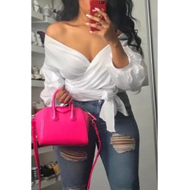 Stylish V Neck Long Sleeves Falbala Design White Polyester Shirts