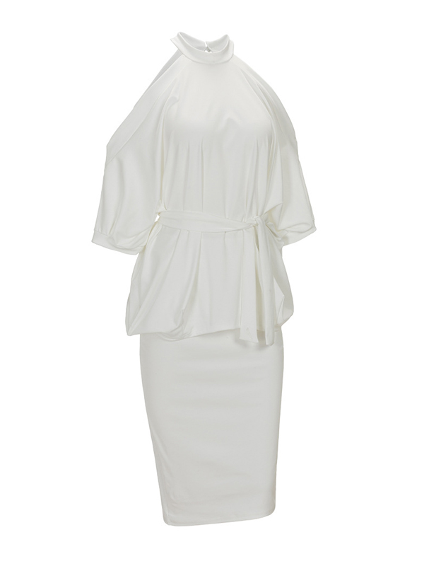 Stylish Round Neck Half Sleeves Hollow-out White Healthy Fabric Sheath Knee Length Dress