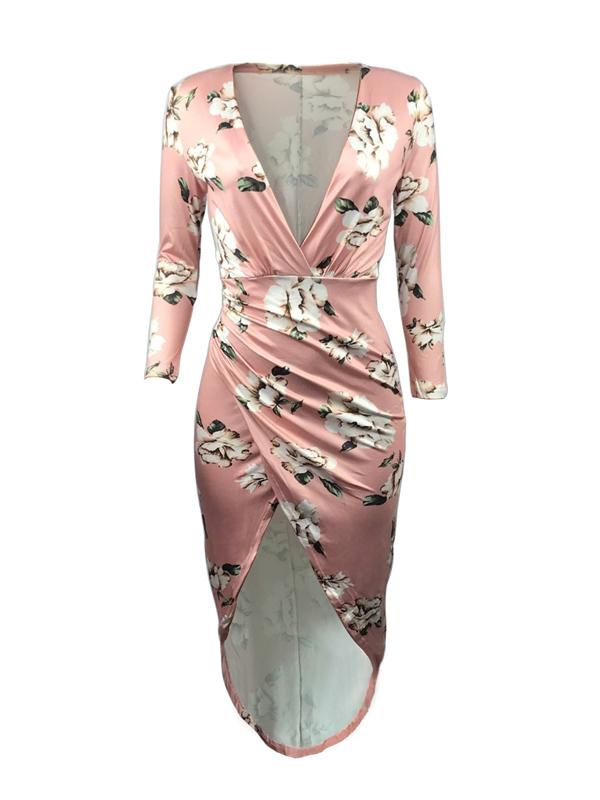 Stylish Round Neck Non Positioning Printing Sheath Mid Calf Dress