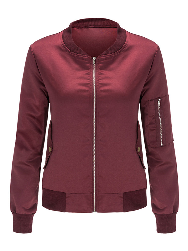 Trendy Long Sleeves Zipper Design Wine Red Rayon Coat