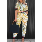 Fashion Round Neck Printed Patchwork White Cotton Two-piece Pants Set