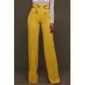 Euramerican High Waist Zipper Design Yellow Polyes
