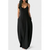 Casual V Neck Asymmetrical Black Blending Floor Length Dress