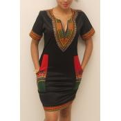 Ethnic Style V Neck Short Sleeves Totem Printed Bl