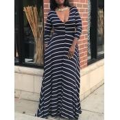Fashion V Neck Long Sleeve Waist skirt Ankle Lengt