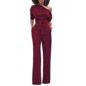 Stylish Ein-Schulter Rot Polyester Einteilige Overalls (Mit Gürtel)