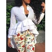 Stylish V Neck Long Sleeves Falbala Design White P