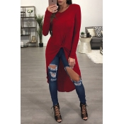 Leisure Round Neck Long Sleeves Wine Red Blending T-shirt