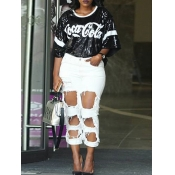 letter printed sequin t shirt