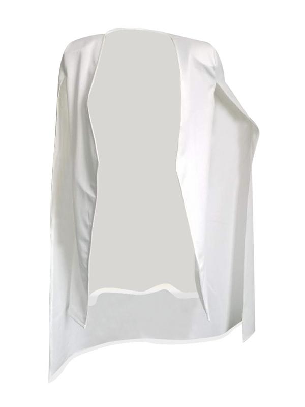 Maniche lunghe alla moda del mantello Design Cappotto bianco sano del tessuto