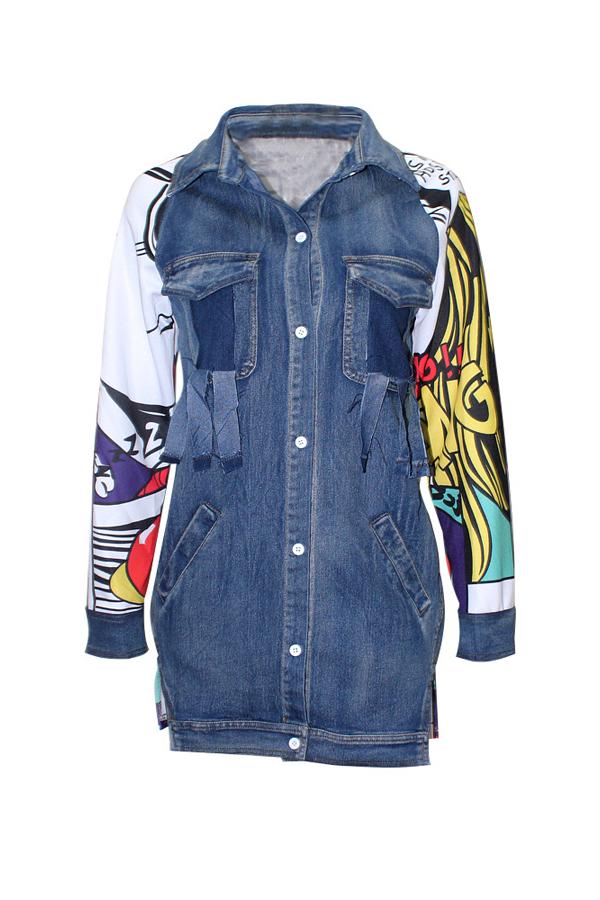Trendy Turndown Kragen lange Ärmel gedruckt Patchwork Blue Denim Long Coat