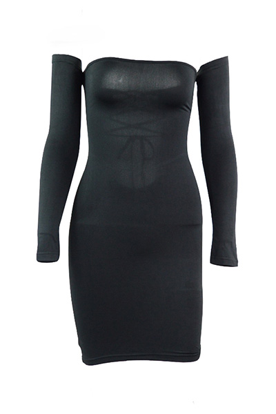 Sexy Dew Shoulder Long Sleeves Hollow-out Black Blending Sheath Mini Dress