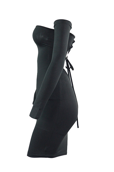 Sexy Dew Shoulder Long Sleeves Hollow-out Black Blending Sheath Mini Dress