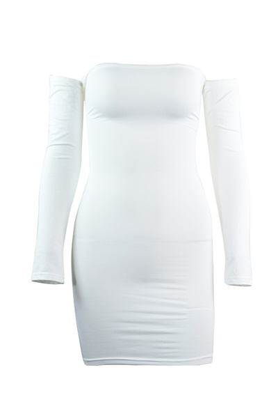 Sexy Dew Shoulder Long Sleeves Hollow-out White Blending Sheath Mini Dress