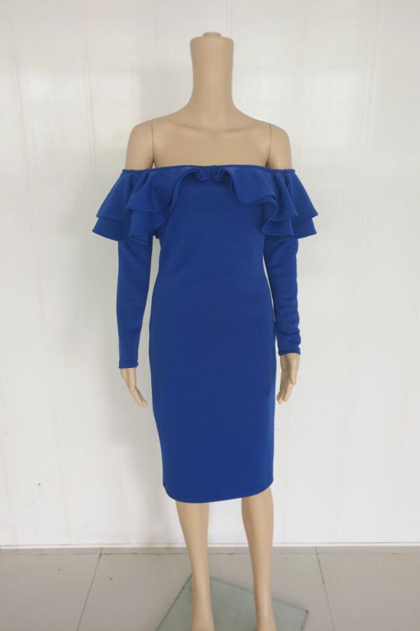 Sexy Falbala Design Royalblue Полиэфирное платье среднего теленка