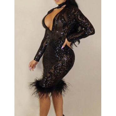 Sexy Deep V Neck See-Through Black Polyester Sheath Knee Length Dress