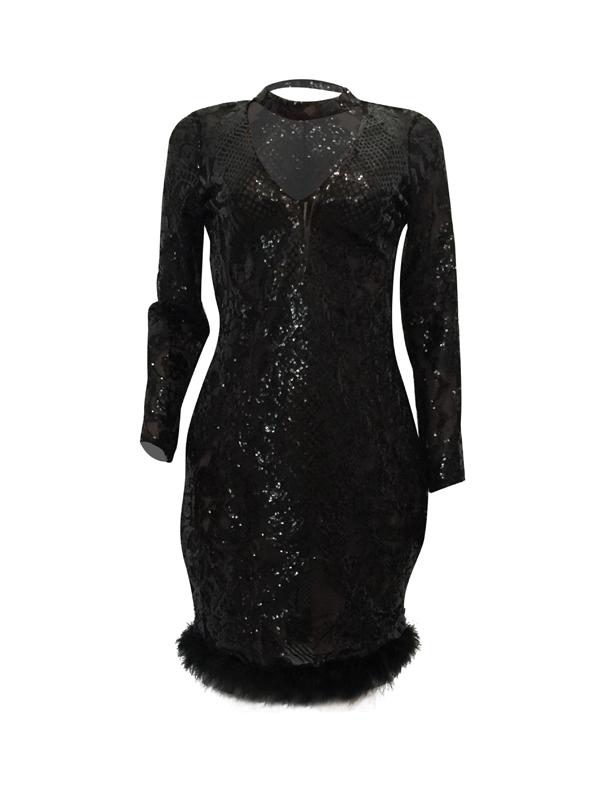 Sexy Tiefem V-Ausschnitt Durchsichtigen Schwarzen Polyester-Mantel Knielangen Kleid