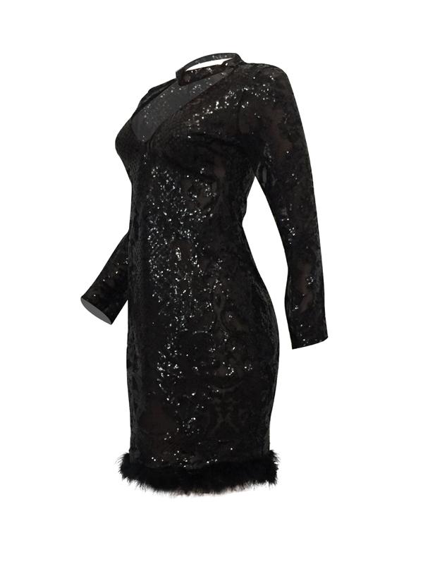 Сексуальное глубокое V-образное вышитое платье с длинным рукавом