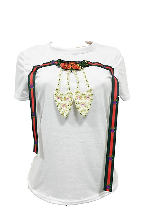 Lazer Rodada Pescoço Mangas Curtas Decoração De Pérolas Algodão Branco Blends T-shirt
