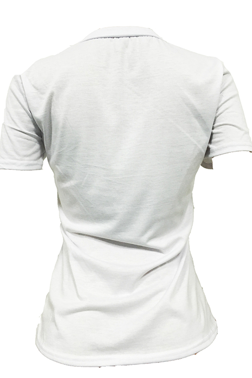 Leisure Round Neck Short Sleeves Pearl Decoration White Cotton Blends T-shirt