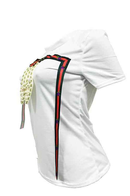 Отдых Круглый Вырез Горловины Короткие Рукава Жемчуг Украшения Белый Хлопок Т-рубашка