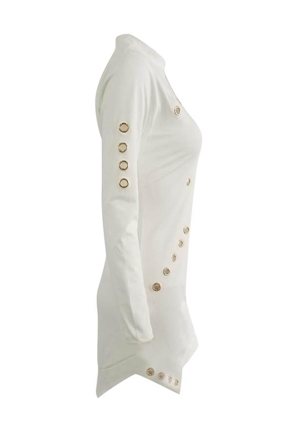 Модные Круглым Вырезом С Длинным Рукавом Полым-из белой здоровой ткани мини-платье