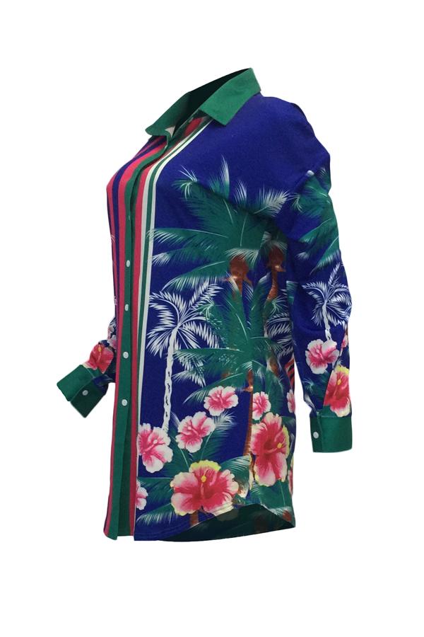Euramerican Colheres De Gola Impressão Floral Mini Vestido De Poliéster Azul (sem Cinto)