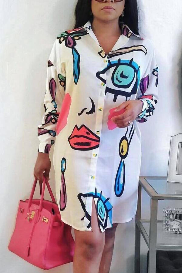 Trendy Turndown Collar Printed White Polyester Knee Length Dress