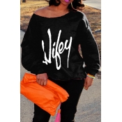 Trendy Dew letras del hombro impresas algodón negro mezclas suéteres