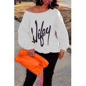 Trendy Dew Shoulder Letters Printed White Cotton B