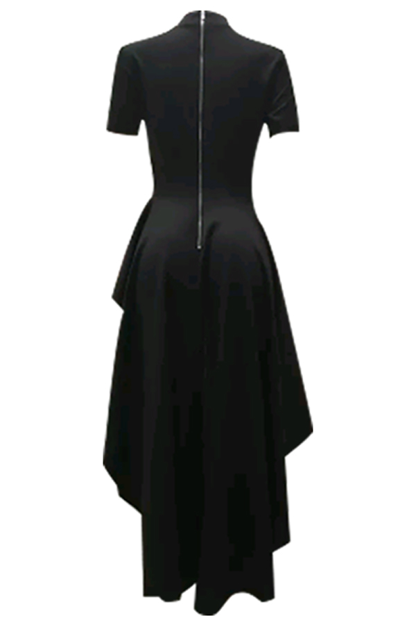 Stylish Mandarin Collar Asymmetrical Falbala Design Black Polyester Mid Calf Dress