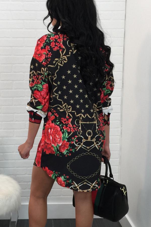 Модный Отложной Воротник С Принтом Лоскутное Полиэстер Оболочка Мини-платье