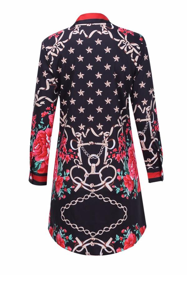 Модный откидной воротник с печатным платьем из полиэфирного миниатюрного платья