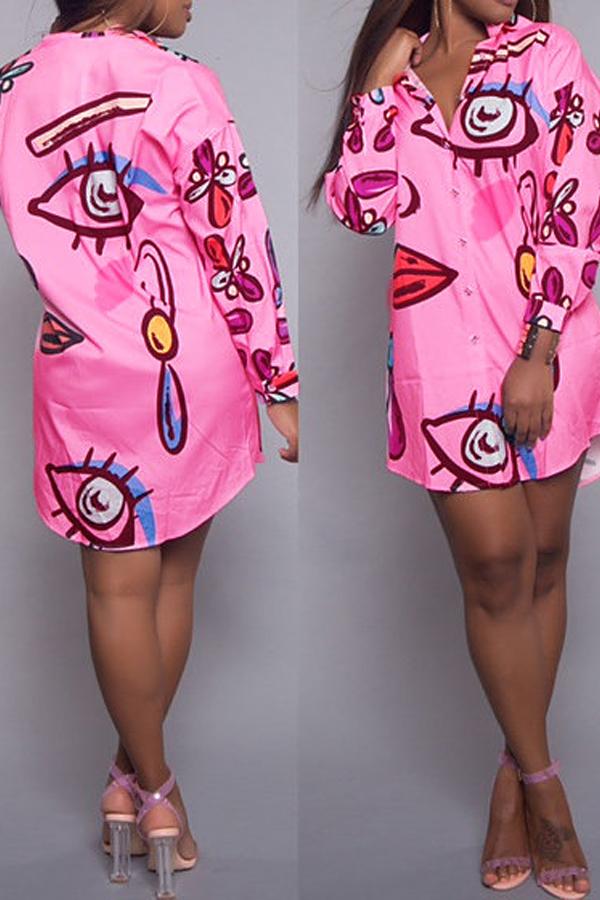 Модные отложным воротником печатных розовый полиэстер Длина до колен платье