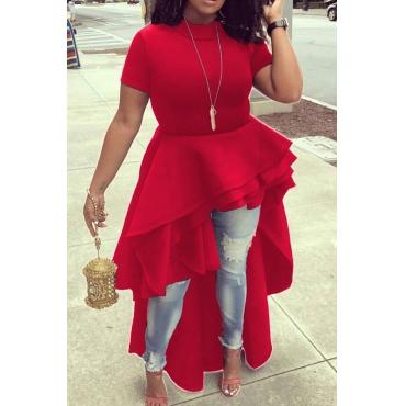 Стильный Мандарин воротник Асимметричный Falbala Дизайн Красный полиэстер середины икры платье